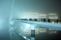 Buenos Aires , foggy night at El Puente de la Mujer.