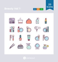 Beauty Vol 1 Icon Pack - 20 Filled Outline Icons Beauty Makeup, Face Makeup, Outline Illustration, Png Icons, Icon Collection, Icon Pack, Icon Font, Mascara, Fashion Beauty
