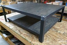 Oak and steel coffee table stained charcoal by ModernIndustrial, $515.00