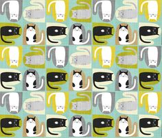 kittens perched on mittens  fabric by lynnbishopdesign on Spoonflower - custom fabric