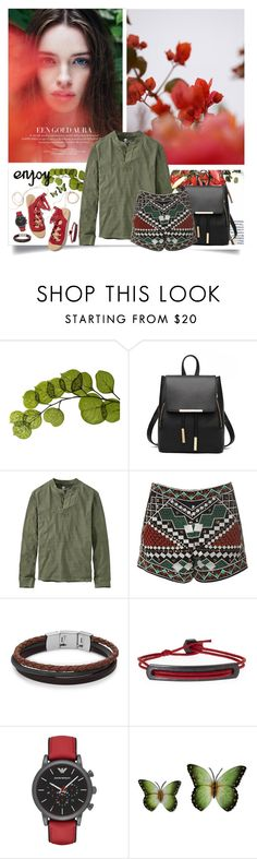 """""""Green blood ^ (27.2)"""" by red-fashion ❤ liked on Polyvore featuring Dot & Bo, GUINEVERE, Timberland, Glamorous, Ancient Greek Sandals, FOSSIL, Mach Speed, Emporio Armani, NOVICA and red"""