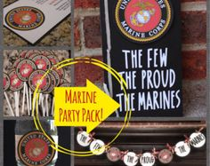 Items similar to Marine Party Package - Invitations, Guest Book, Cupcake Toppers, Bottle Wraps, Banner on Etsy Military Send Off Party Ideas, Military Party, Military Crafts, Military Retirement, Graduation Party Decor, Grad Parties, Graduation Ideas, Marines Boot Camp, Deployment Party