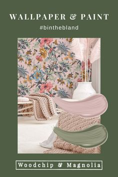 Always bold and always beautiful, Woodchip & Magnolia is anything but bland.#binthebland Painting Wallpaper, Wallpaper Samples, Wallpaper Roll, Magnolia Paint, Colour Board, Color, Botanical Wallpaper, Design Repeats, Pink Clouds