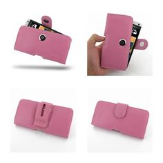 PDair Leather Case for The New HTC One 801e 801s - Horizontal Pouch Type (Petal Pink)