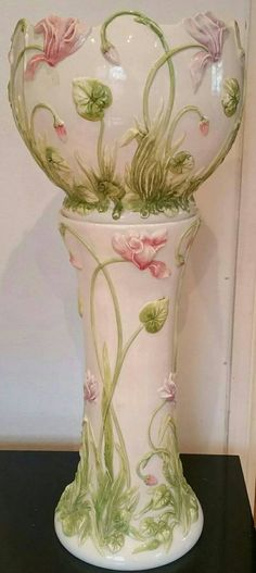 Vintage Majolica Style Hand Painted Glazed Jardiniere Stand And Large Planter From Italy.
