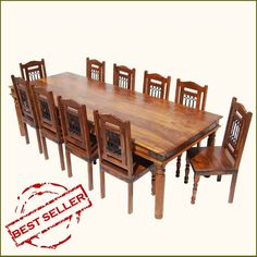 Solid Wood Large Rustic Furniture Transitional Dining Table Chair Set