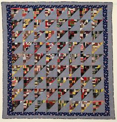 Birds in the Air Quilt: Circa 1920; Pennsylvania.  Each large triangle is filled with cotton crazy patches.