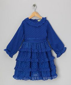 Take a look at this Blue Polka Dot Bacci Ruffle Dress - Infant, Toddler & Girls by Sophie Catalou on #zulily today!
