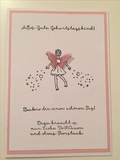 Stampin Up Karte Geburtstag. Stempel einfach zauberhaft. Stanze Schmetterling. Rosa, Flüsterweiss. QUELLE: engelräume