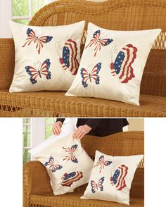 Patriotic Butterfly Accent Pillow Cover