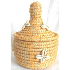 Senegalese Basketry yellow color with shells
