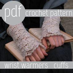 PDF CROCHET PATTERN - open work very romantic wrist warmers cuffs Crochet Mittens, Crochet Gloves, Crochet Hooks, Crochet Pattern, Knit Crochet, Crochet Wrist Warmers, Arm Warmers, Learn To Crochet, Crochet Accessories