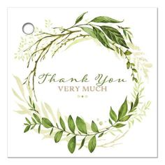 Blank greenery wedding favor thank you tag with assorted green watercolor foliage, leaves, stems and boughs in a round wreath shape on a white background with brown and green modern typography 'Thank you very much' wording on the front with a faux Kraft paper look backing for you to hand-write on a personalized message if you like.