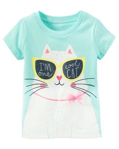 Baby Girl One Cool Cat Graphic Tee from Carters.com. Shop clothing & accessories from a trusted name in kids, toddlers, and baby clothes.