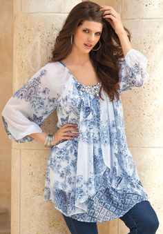 Embellished Print Tunic by Denim 24/7.   Plus Size New Arrivals   fullbeauty