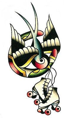 LUCKY SKATES ROLLER DERBY SWALLOW STICKER/VINYL DECAL Art by Adam Potts