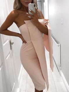 Solid Tie Sleeve Button Irregular Dress Shop- Women's Best Online Shopping - Offering Huge Discounts on Dresses, Lingerie , Jumpsuits , Swimwear, Tops and More. Preppy Dresses, Stylish Dresses, Trendy Outfits, Cute Outfits, Latest Fashion Clothes, Fashion Outfits, Trendy Clothes For Women, Buy Dress, Pattern Fashion