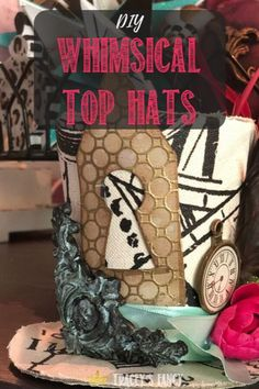 See these adorable whismical top hats that will be one of many whimsical designs to adorn Tracey Bellion of Tracey's Fancy's Whimsy Christmas Tree Diy Christmas Tree Topper, Diy Tree Topper, Whimsical Christmas Trees, Christmas Diy, Christmas Decorations, Table Decorations, Christmas Ornaments, Diy Crafts For Home Decor, Diy Home Decor On A Budget