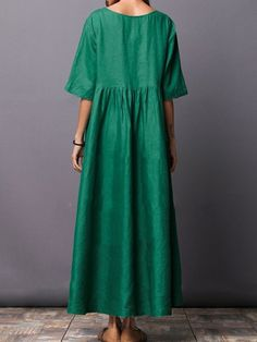 Image of Round Neck Plain Cotton/Linen Maxi Dress green xl Half Sleeve Dresses, Plus Size Maxi Dresses, Maxi Dress With Sleeves, Half Sleeves, Day Dresses, Summer Dresses, Woman Dresses, Summer Maxi, Spring Summer