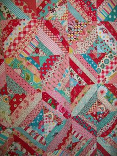 Scrap Basket String Quilt Aqua Pink and by SouthernBelleDesigns