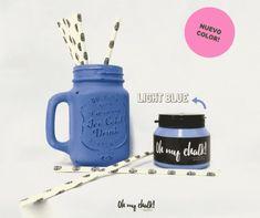 Oh my Chalk! Oh My Chalk, Chalk Paint, Mason Jars, Light Blue, Mugs, Tableware, Color, Point Of Sale, Hall