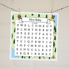 Nothing says congrats on your new bundle of joy better than a cute word search card!
