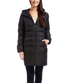 Look what I found on #zulily! Hawke & Co. Black Hooded Puffer Coat by Hawke & Co. #zulilyfinds