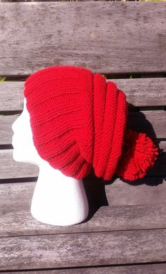 b46335e46f2 Red beanie Red knit hat warm winter hat Lightweight beanie red Hipster hat  Christmas hat Red pom pom hat Slouchy beanie Christmas red hat
