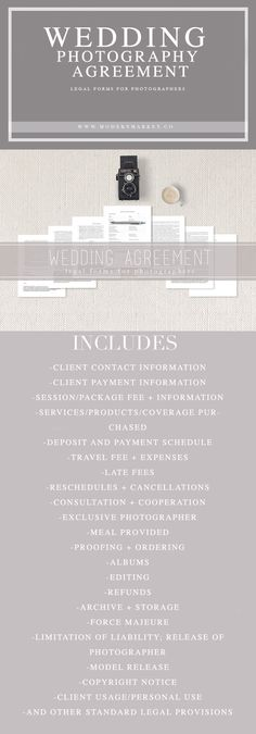 WEDDING PHOTOGRAPHERS - If you shoot weddings you need this! A easy to understand, simple to customize wedding contract. View our whole line of legal forms for photographers.