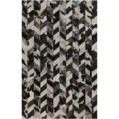 Art of Knot Juniper Coffee Hand Crafted Leather Accent Rug, 2' x 3', Black