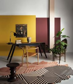Wallpaper Mural Tricks: How to Choose and Install Yellow Interior, Cafe Interior, Home Interior Design, Neon Bedroom, Home Decor Bedroom, Burgundy Living Room, Wall Color Combination, Room Wall Painting, Property Design