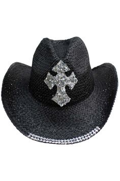 Straw Cowboy Hat With Rhinestone Cross