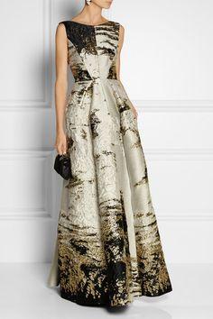 Alberta Ferretti metallic jacquard gown at Net-a-Porter
