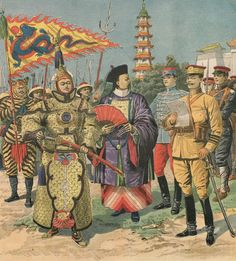 """An illustration published in a 1911 supplement of """"Le Petit Journal"""" showing the evolution of Chinese military uniforms. To the left is a stereotypical depiction (and racist–check out the center guy's nails!) of the old Qing military forces. The """"New Army"""" uniforms are worn by the soldiers on the right, along with an officer wearing a French hussar uniform."""