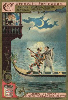 pierrot & harlequin serenading their loves. Vintage Advertisements, Vintage Ads, Vintage Images, Vintage Paper, Pierrot, Clowns, Illustrations, Illustration Art, Mardi Gras