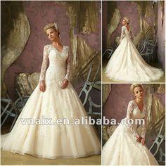 W0133 Elegant Long Sleeves Lace Muslim Wedding Dresses 2012