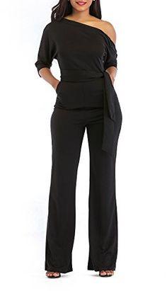 0ee8c76f96a8 Women s Elegant Off One Shoulder Slit Long Sleeve Wide Leg Pants Jumpsuit  with Belt