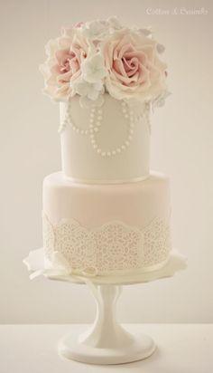 Vintage rose 2tier cake.