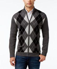 c38ac50a6820 Club Room Men s Zip-Front Argyle Sweater