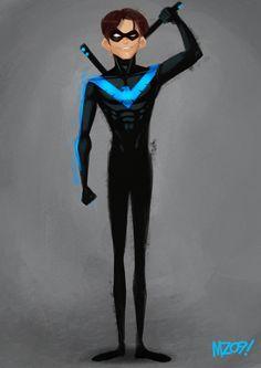 NightWing by Julio Cesar Superhero Cartoon, Superhero Characters, Batgirl And Robin, Storyboard Artist, Behance, Batman Family, Dc Heroes, Fantasy Character Design, Character Design References