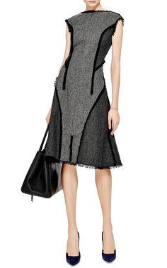 Zip-Front Donegal Wool Dress by Thom Browne - Moda Operandi