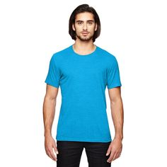 Anvil Men's Heather Caribbean Blue Triblend T-Shirt