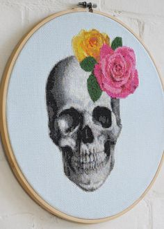 *Hi folks, please take notice that this is a digital download of a cross stitch pattern*  The finished product shown here was stitched on 14 count, light blue aida cloth, and is mounted within a 12 hoop. The finished image is 102 stitches wide x 131 stitches high, with the