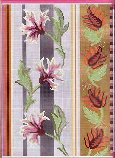 Beaded Cross Stitch, Cross Stitch Borders, Crochet Borders, Cross Stitch Flowers, Cross Stitching, Cross Stitch Embroidery, Cross Stitch Patterns, Floral Border, Bargello
