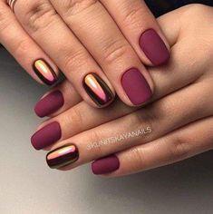 Beautiful autumn nails Fall nails 2017 Ideas of matte nails Ideas of plain nails Maroon nails Maroon nails with a picture Matte nails Mirror nails Maroon Nail Designs, New Nail Designs, Art Designs, Design Ideas, Design Art, Gel Manicure Designs, Light Colored Nails, Light Nails, Nailart
