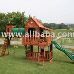 Wood Bridge Wooden Swing Set Playhouse - Buy Playhouse Product On Alibaba.com