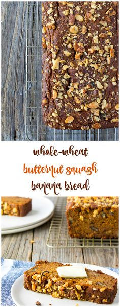 Comforting, sweet, and satisfying, this whole wheat butternut squash banana bread packs in fruits AND vegetables, whole grains and nuts, for a nutrient-packed breakfast or snack.