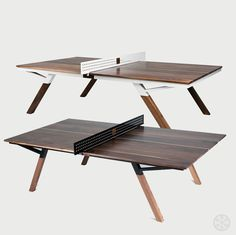 The stunning Woolsey walnut wood ping pong table converts to an equally beautiful dining table. Black Walnut top, maple inlay, paddles and balls.