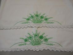 Vintage embroidered pillowcases Linens by SouvenirAndSalvage