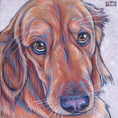 Allie the Golden Retriever, Painting in Acrylic Paint on Canvas from Pet Portraits by Bethany.